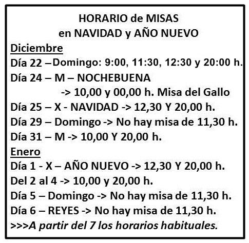 Horarios de Misa en Navidad