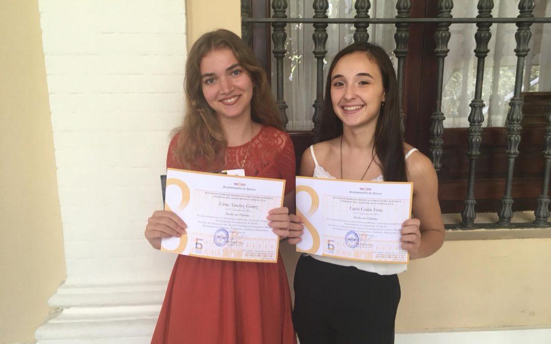 El Ayuntamiento de Sevilla distingue la trayectoria académica y personal de 2 alumnas de nuestro centro